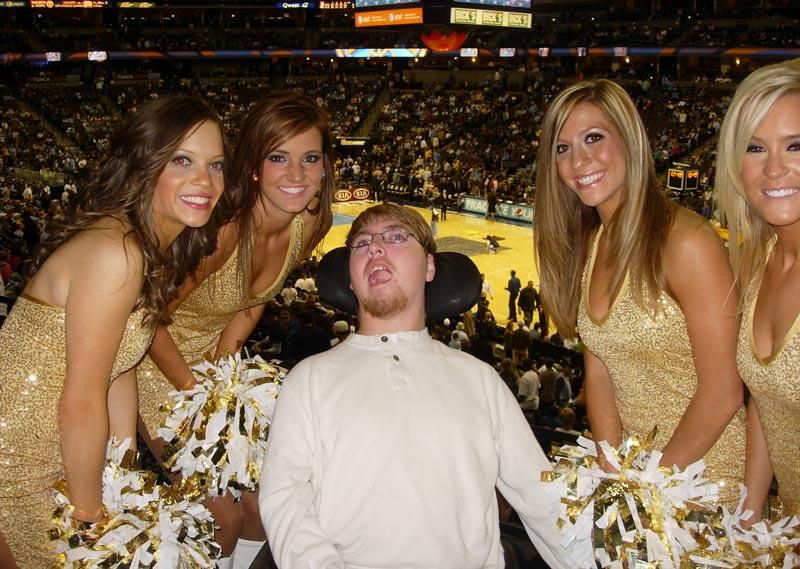 Austin Ziel with Denver Nugget Cheerleaders HighPointe