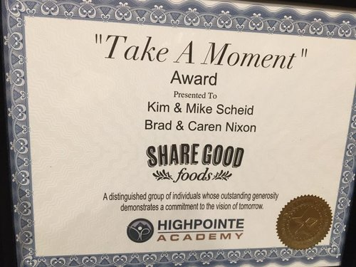 Share Good Foods 1st Take-a-Moment Foundation Honoree